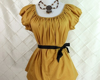 "Old Gold Cotton Willow Chemise -- Sz. S -- Fits Bust 33""-36"" --  Ready to Ship"