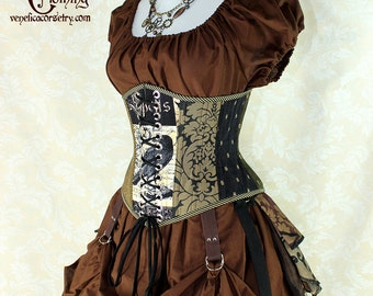 "Poe Inspired Steampunk Nevermore Random Patchwork Waspie Corset w/Front Laces -- Corset Size 26, Fits Waist 29""-31"" -- Ready to Ship"