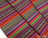 Thai Woven Fabric Tribal Fabric Native Fabric by the yard Ethnic fabric Aztec fabric Craft Supplies Woven Textile 1/2 yard Orange Blue (FF3)