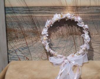 Blush Pink Seashell Bridal Crown/ Headpiece Accessory