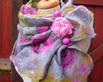 nuno felted scarf, wrap, handmade, silk, felted wool , art to wear, MADE TO ORDER, grey, pink