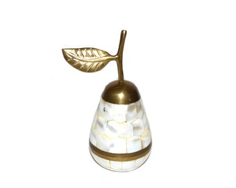 Brass Pear Box Pear Trinket Dish Mother of Pearl Pear Box Brass Fruit White Pear Statue Gold and White Pear