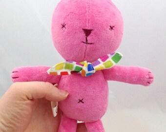 small pink bunny rabbit stuffed animal- soft, washable
