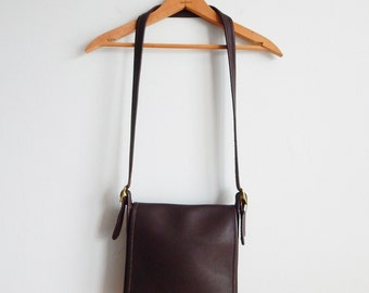 Vintage Coach Chocolate Brown Crossbody Bag With Flap