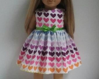 18 Inch Doll-American Girl Dress: Rainbow Hearts