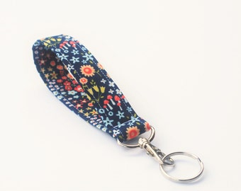 Keychain, Key Fob, Wristlet Lanyard with Snap, Flowers and Mushrooms, in Navy