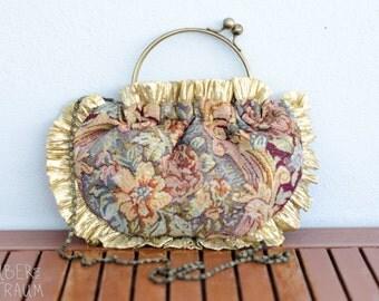 90's Gold Tapestry Bag - kitch kawaii fashion shoulder bag