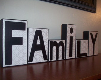 family wooden block letters black white and silver family room decor living room decor mantel decor wooden block letters