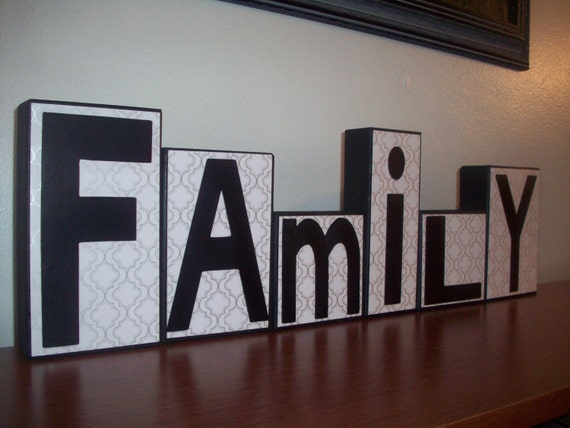 Items similar to family wooden block letters black white for Living room 6 letters