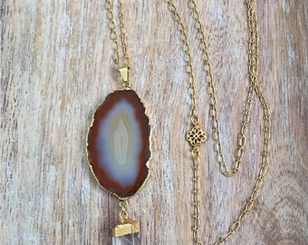 Brown Agate Slice Necklace // Gold Edged, Raw Crystal Quartz Point, Long Layer Chain, Mineral Rock Slice, Geode Stone, Gray, Natural, Earthy