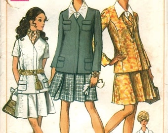 Fab Mod Vintage 1960s Simplicity 8094 Concealed Button Jacket, Pleated Skirt and Cap-Sleeve Blouse Sewing Pattern B32.5