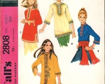 Boho Uncut Vintage 1970s McCall's 2808 Braid Trim Dashiki Style Pullover Tunic Shirt Sewing Pattern B31.5, 32.5