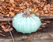 "4"" Glass Pumpkin by Jonathan Winfisky - Opaque Mint Green - Hand Blown Glass"