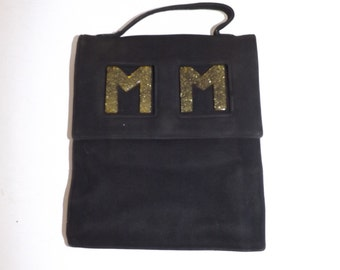 Vintage 1940s very interesting black faux suede grab handbag bag with lucite MM detail