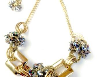 Rhinestone Cluster & Gold Link Statement Necklace Set Retro Smokey Grey Fashion Jewelry