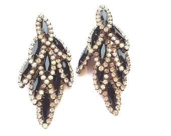 Art Deco Glamour Earrings Rhinestone Black & Clear Layered Retro Retro Fashion Jewelry