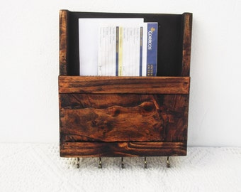 Rustic Wooden Mail Organizer and Key Rack, Wood Wall Mounted Mail Box, Key Storage, Mail Caddy, Kitchen Recipe Box, Letter Rack