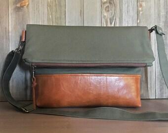Fold Over Crossbody Bag - Olive Green - Messenger Handbag - Fabric Zipper Bag - Military Inspired Satchel - Army Green
