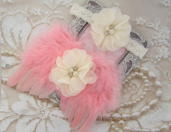 Coral Feather Angel Wings AND/OR Matching Sparkly Chiffon Flower Headband, newborn angel photos, salmon feathers, by Lil Miss Sweet Pea