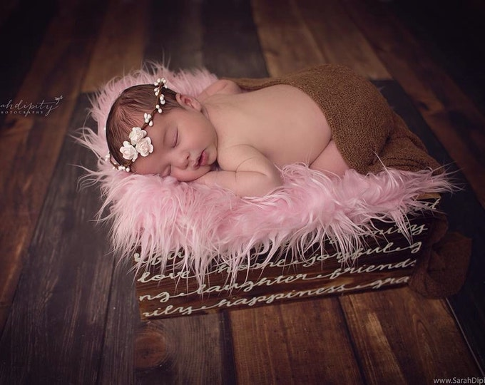 Featured listing image: Halo with Miniature Paper Roses for a newborn photo shoot, bebe fotografia, baby headband by Lil Miss Sweet Pea