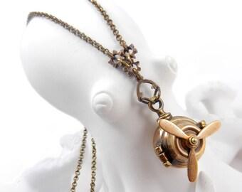 Steampunk Porthole Locket, Propeller Necklace, Ball Globe Locket, Hidden Compartment Necklace, Wish Box, Spinning Propeller