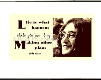 "5x8 Beatles Fusible Fabric Panel John Lennon Quote ""Life is what happens"" Beatles Lennon Memorabilia, Beatles Fabric Block FB-2001"