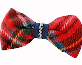Multi Colored Plaid Clip on Bow Tie