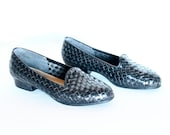 Black Leather Basket Weather Loafers Size 6