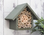 Mason Bee House and Insect Home, One Tier, in 'Old English Green'. Can be personalised
