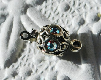 Antiqued Silver and Swarovski Crystal AB Ornate Bead Clasp 8mm