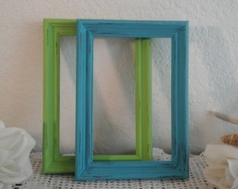 Turquoise Blue Lime Green Beach Wedding Frame Rustic Shabby Chic Distressed 4 x 6 5 x 7 Picture Photo Table Number Decoration Birthday Gift