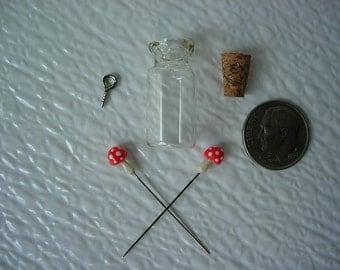 Charm Bottle,  Mushroom Pendant , Toadstool Pendant,Tiny Red Spotted Mushroom  Bottle, Terrarium Ornament, Clay Mushrooms