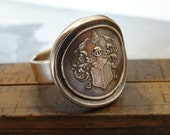 Wax Seal Ring - Mystical Life - antique wax seal jewelry - armorial shield crest - tree birds floral scrolls - size 9 3/4