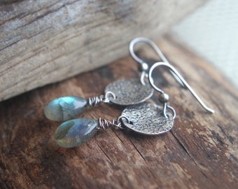 Labradorite and Sterling Silver earrings - Hand forged metalwork dangles - Boho chic - Artisan earrings