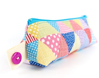 Cute Pencil Case Polka Dot Linen Gingham Fabric Zipper Pouch Small Makeup Bag Teen Gift