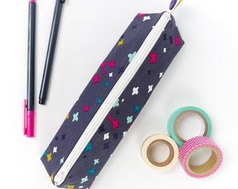 Zipper Pouch Brush Case Fabric Pencil Case in Dark Grey Modern Print Back to College