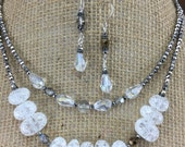 Designer Inspired, Glass Necklace and Crystal Necklace and Earring Set, Double Strand, Classy, White, Glass, Gypsy, Bohemian, Shabby Chic