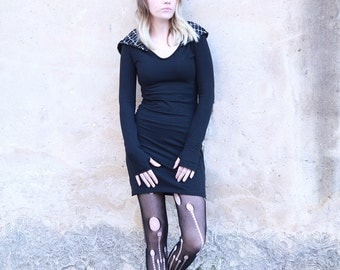 Black Hooded Dress, Goth Dress, Hoodie Dress, Winter dress, Long sleeves dress