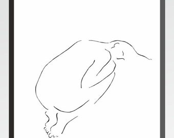 Minimalist line art print. Female nude from back. Black and white drawing for home decor.