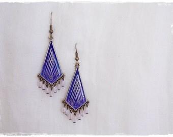 Cobalt Ombre Earrings, Long Geometric Earrings, Blue Gypsy Earrings, Dangle Brass Earrings, Yoga Chandelier Earrings, Ethnic Tribal Earrings