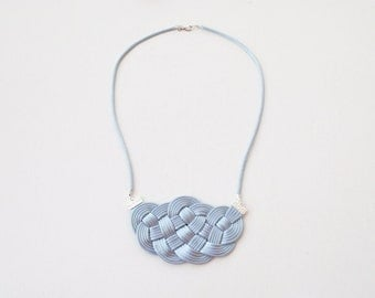 Knot necklace, grey necklace, nautical necklace, silver necklace, bib necklace, statement necklace, summer trends, bridesmaid gift