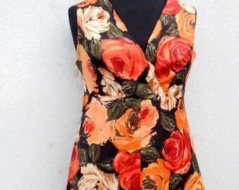 Vintage 60s A line floral dress with raffle hem