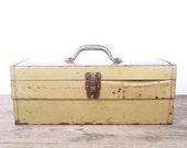 Vintage Metal Toolbox / Yellow Gold Industrial Box / Large Metal Storage Box / Antique Metal Tool Box / Tool Display Prop / Unique Storage
