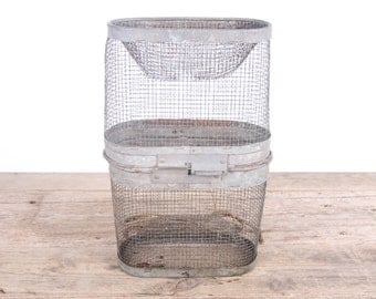 Vintage Metal Minnow Bait Trap Basket / Minnow Catcher 2 Piece Fisherman's Tackle / Old Fishing Decor - Cabin Lake Restaurant Bar Decoration