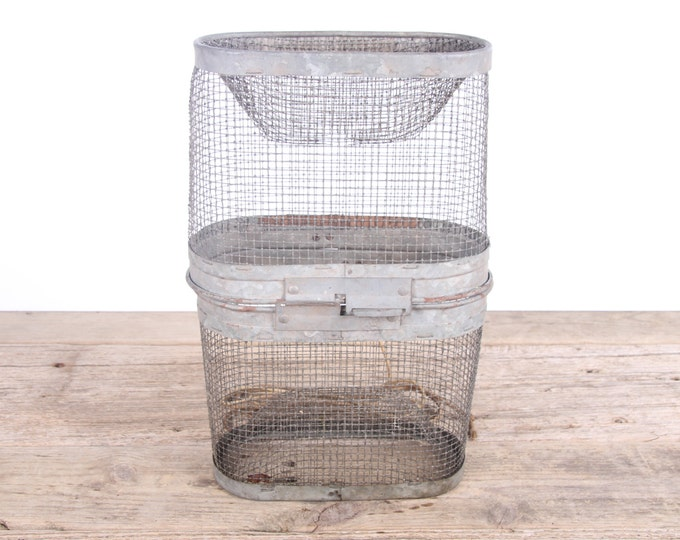 Vintage Metal Minnow Bait Trap Basket / Minnow Catcher 2 Piece Fisherman's Tackle / Old Fishing Decor - Cabin Lake Restaurant Bar Decoration