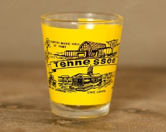 Vintage TENNESSEE Shot Glass Souvenir Collectible - yellow black
