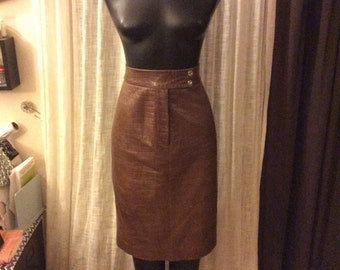 VINTAGE Ralph Lauren leather UNION made pencil skirt in AMAZING vintage condition very petite size