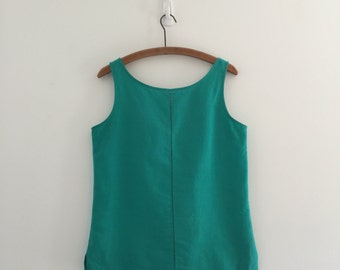 Vintage 80's Emerald Green Tank / Jade Cotton Tank Top M