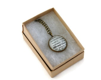 Vintage Dictionary Necklace - Affirmation - Antique Bronze - Upcycled Paper