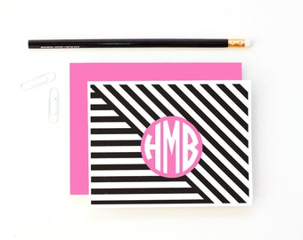 Personalized Stationary Monogram Stationery Custom Girls Thank You Notes Pink Black Magenta Preppy Note Cards Modern Hostess Gifts Geometric